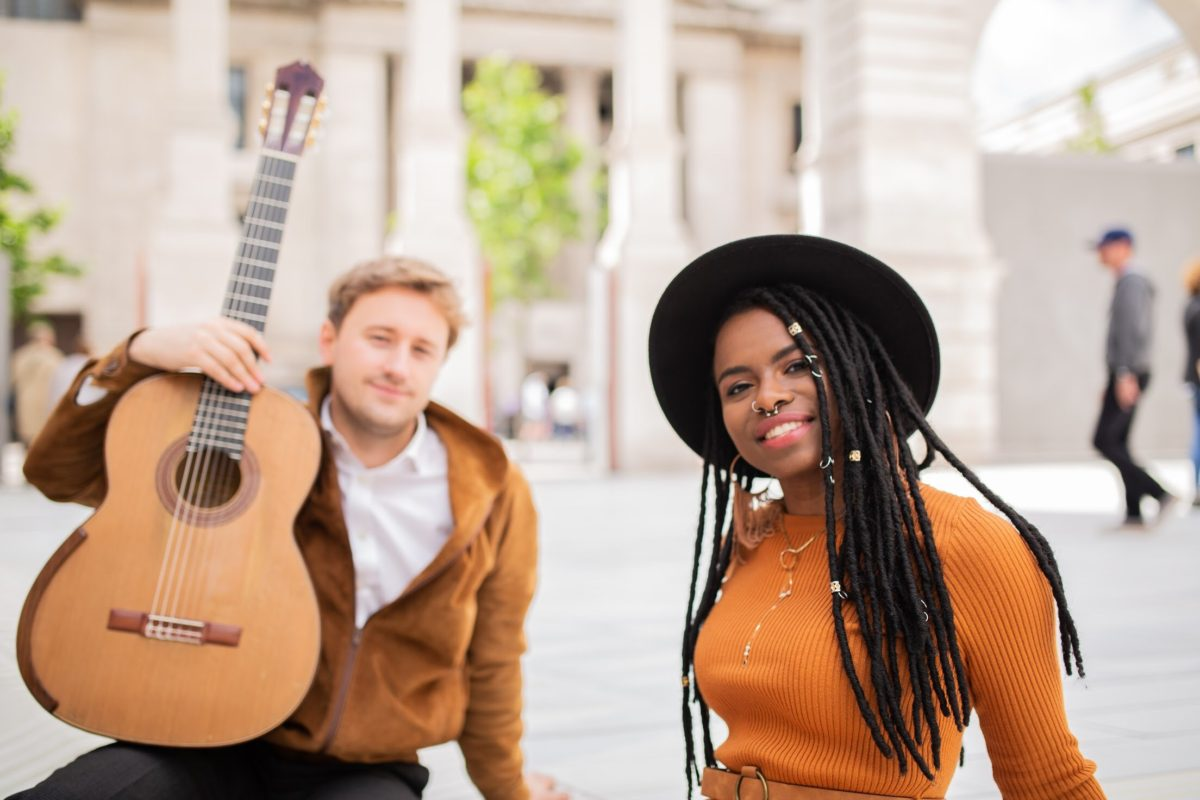 A photo of guitarist Michael Christian Durrant and Pianist Morgan-Paige Melbourne